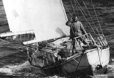 Sir Robin Knox-Johnson winning the Golden Globe Race in his 32-foot (9.8-metre) boat Suhaili