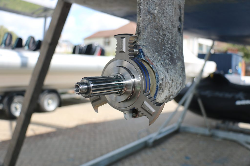 HydroAxe 3 Blade Rope Cutter fitted to 120 Volvo Penta Sail Drive on Sailing Yacht